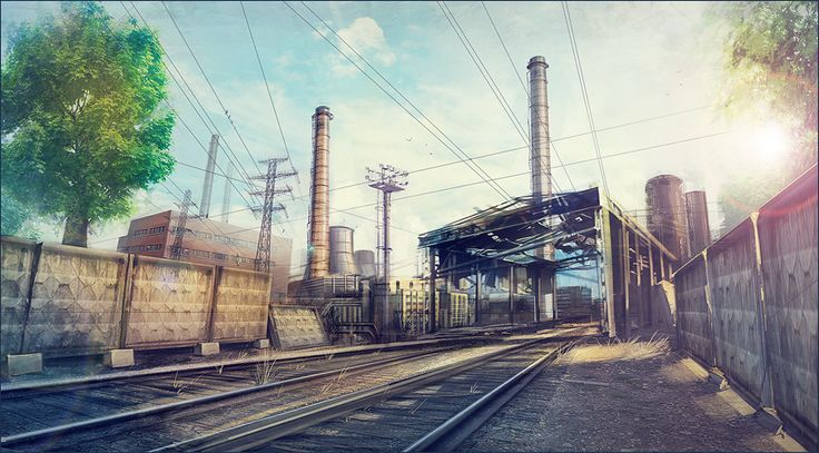 Train Track Area - An outdoor industrial area with overhead things and old falling down walls.