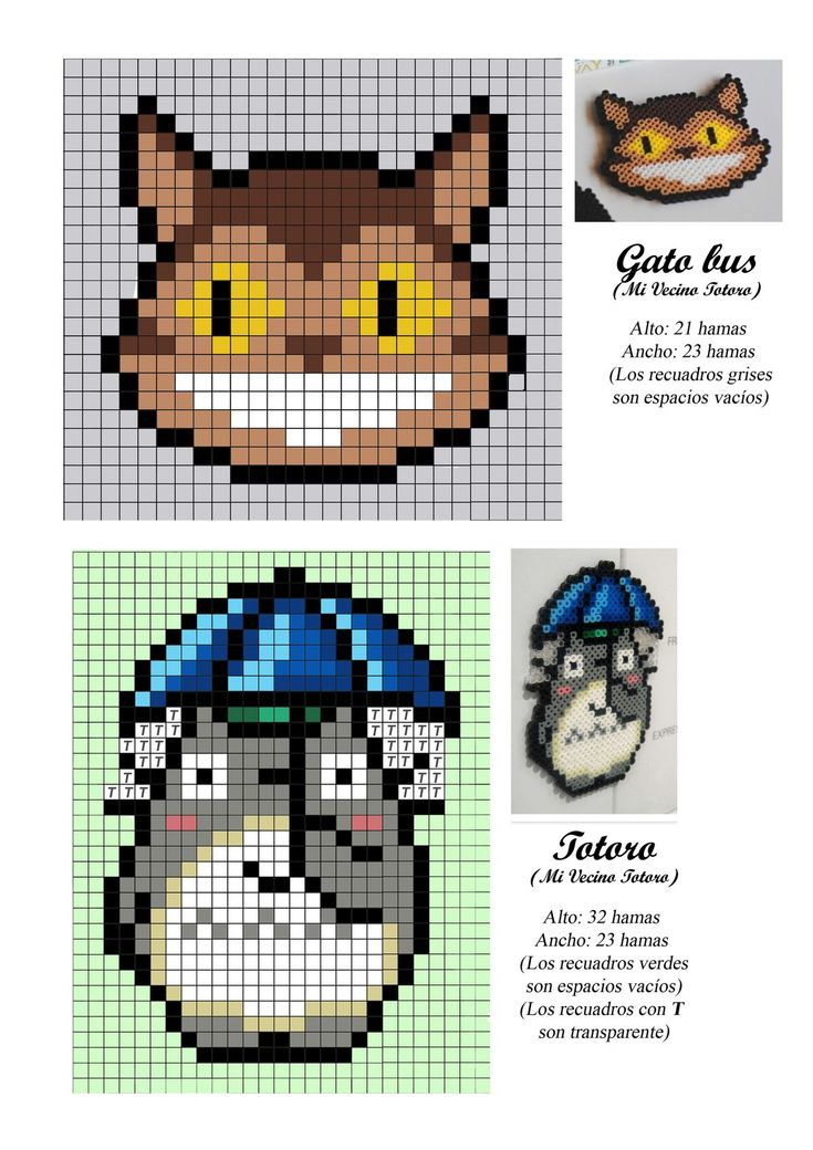 Gatobus - Totoro - Ghibli - Miyazaki - hama beads - pattern