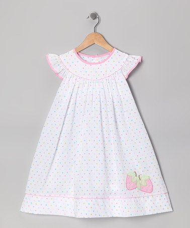 Another great find on #zulily! White Polka Dot Strawberry Angel-Sleeve Dress - Infant & Toddler #zulilyfinds