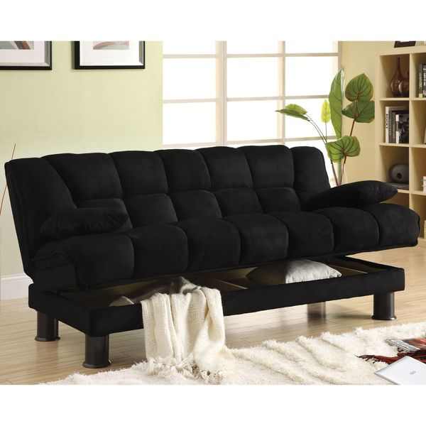 Furniture Of America Black Elephant Skin Microfiber Futon