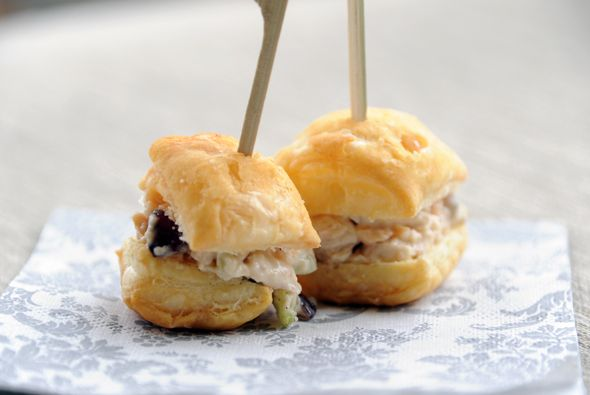 Chicken Salad Puffs... for your shower @Candice Blythe. We could use chicken salad, egg salad and tuna salad?