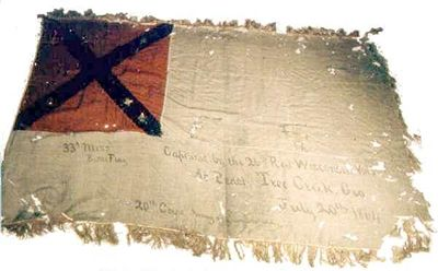 33rd Mississippi flag.jpg---this was captured at Peachtree Creek, GA, July 20, 1864 by the 27th Wisconsin Vols.  The 33rd MS Regiment Infantry was part of Featherston's Brigade, Loring's Division, Polk's/Stewart's Corp in the Atlanta Campaign.---the stainless is my favorite!!