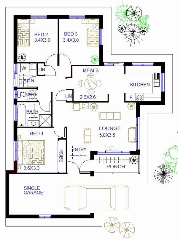 3 Bedroom Home Floor Plans Awesome 3 Bed Home Plans Unique House Plans Bedroom House Plans Bungalow Floor Plans