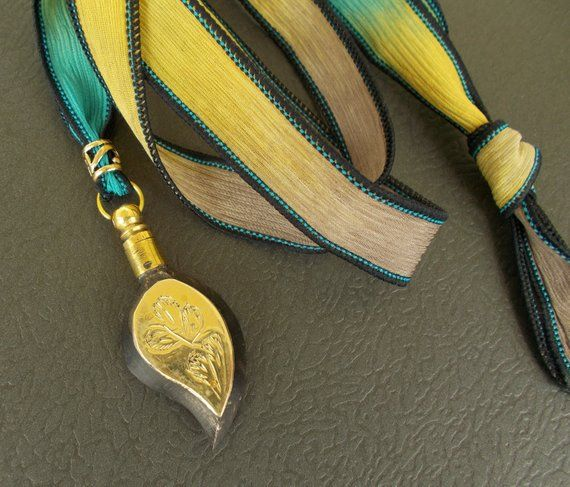 Boho Silk Ribbon Necklace With Vintage Teardrop Perfume Pendant Essentialoil Diffuser Colo Silk Ribbon Necklace Ribbon Necklace Unique Items Products