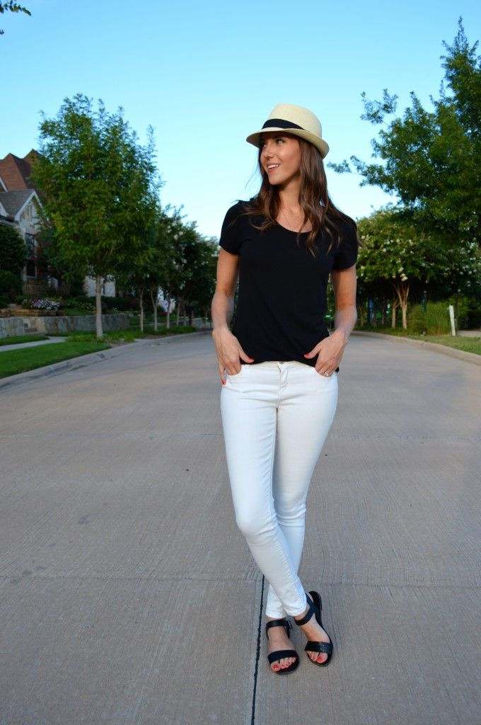 #gtrsummerremix outfit 2: simple black tee + white jeans + fun accessories
