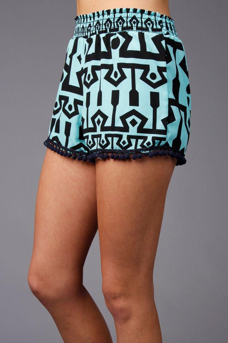 Seafoam Aztec Shorts With PomPoms