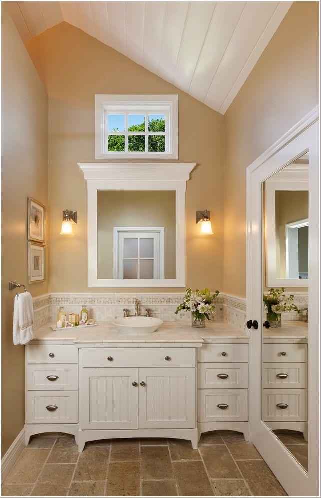 Bathroom traditional santa barbara beadboard cabinet bin for Stone bathroom bin