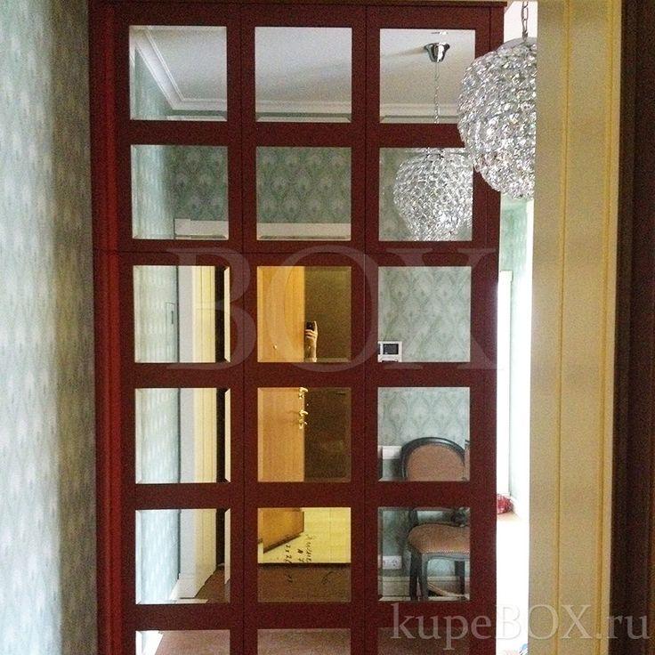 Шкаф в прихожую с зеркальными дверьми с фацетами