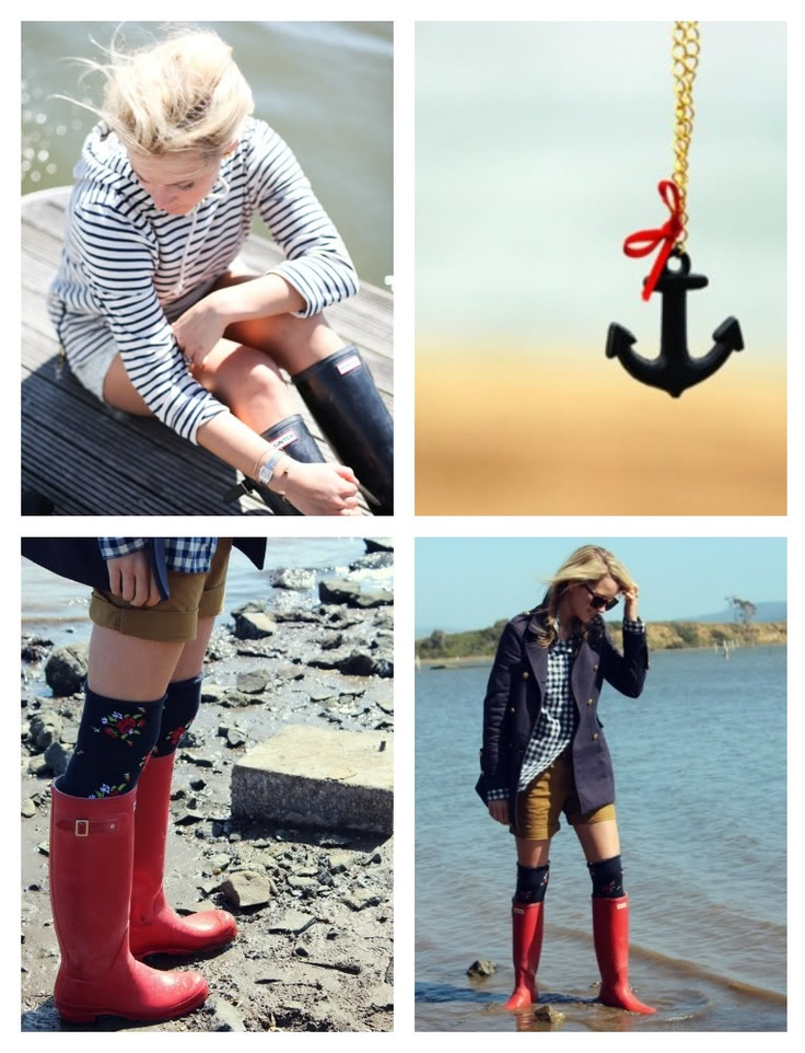 WELLIES WORN WELL - at the seafront, great look! Want the red Hunter boots!