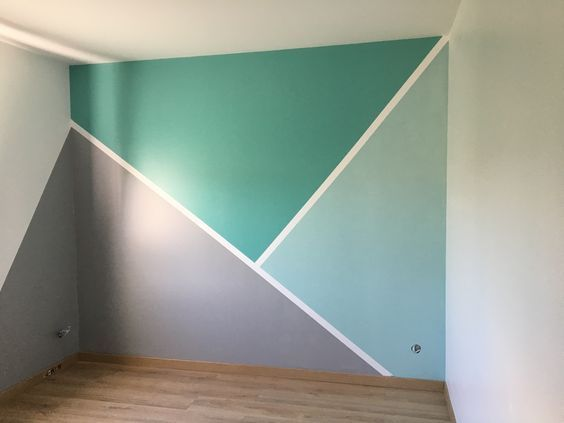 DIY geometrische Wandmuster – #chambre #DIY #Geometric #Patterns #wall