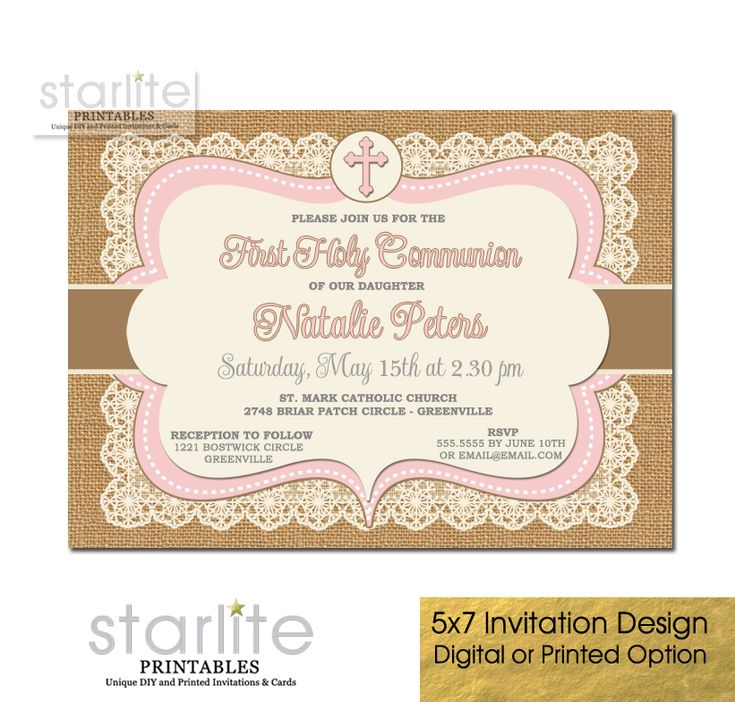 27 best first communion invitations boys images on pinterest first communion invitation girl pink brown burlap lace choice of printable digital diy or complete solutioingenieria Choice Image