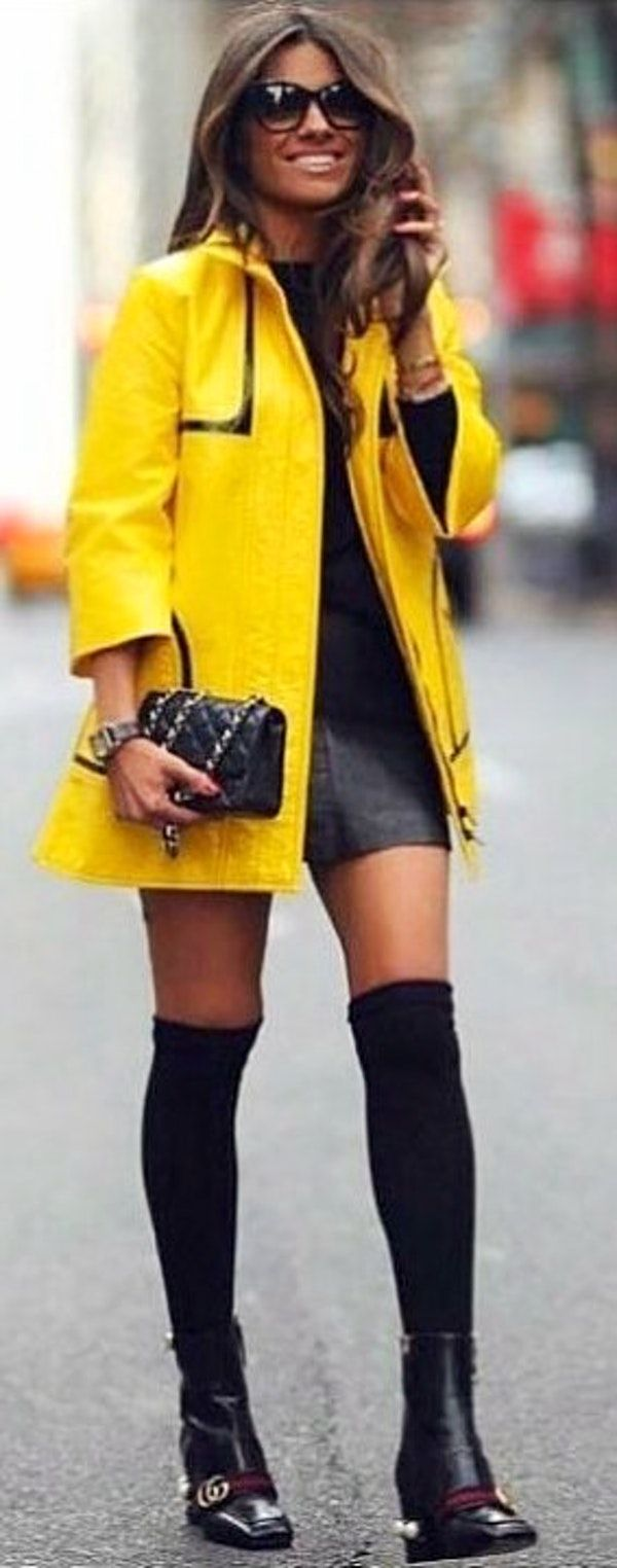 #spring #outfits  yellow zip-up jacket; gray mini dress; and pair of black leather boots. Pic by @fashion_styles_inspiration