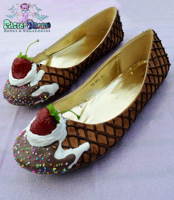 flats edition drippy icecream cupcake custom made shoes one of the kind, Pastel Goth, Fairy Kei, Kawaii,cute