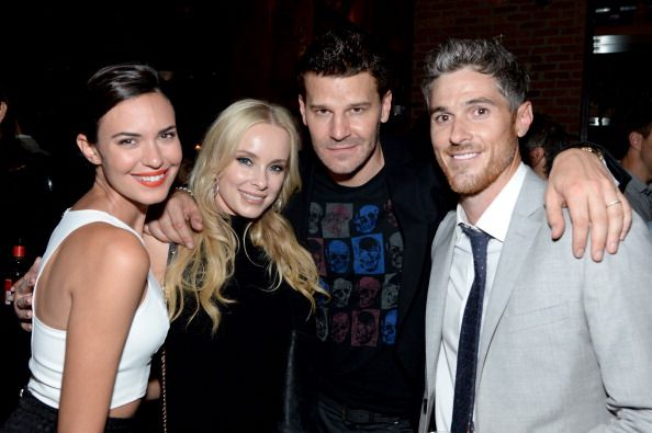 Odette Annable Jaime Bergman David Boreanaz and Dave Annable attend the 2014 CAA Upfronts party on May 12 2014 in New York City
