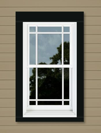 "Your Window Design  AndersenHomeDepot.com/design/saved/? ps=Cgebi7zCdD6rbPwF   Window Color: White Trim Style: 4""/3"" Jamb Flat w/ Sill Nose Trim Color: Black Grille: Prairie 6 Lite House Siding: Brown Vinyl  This design available in: A-Series"