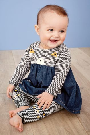 Buy Denim Cat Dress And Leggings Set (0mths-2yrs) online today at Next: United States of America
