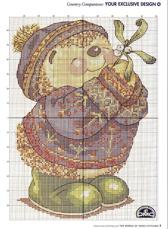 Hedgehog with mistletoe cross stitch
