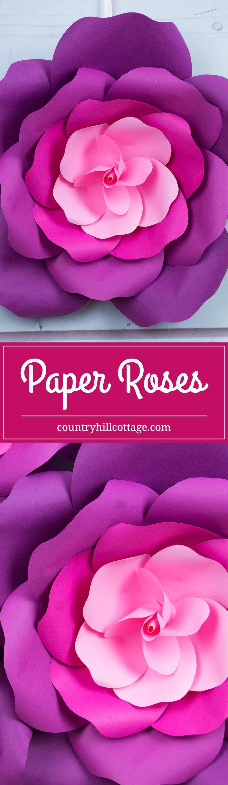 Learn to craft giant paper roses in 5 easy steps and get a free printable template for the petals. #papercrafts #paperflowers | countryhillcottage.com