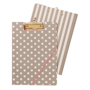 A4 Clipfolder Warm Grey with Spots and Stripes