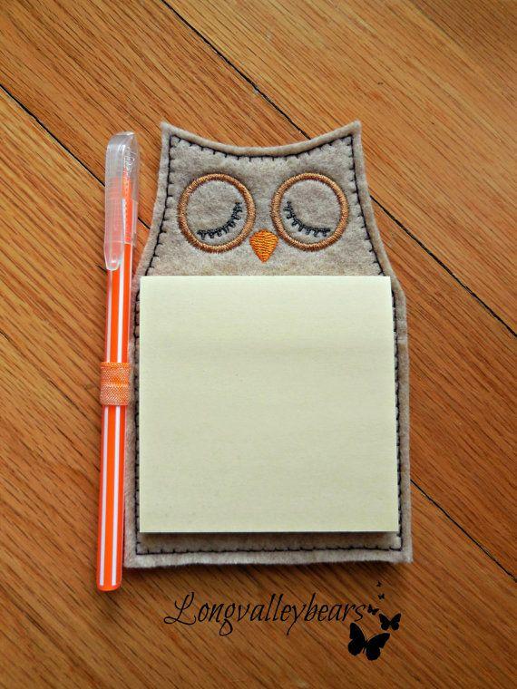 Refrigerator Magnet Owl Sticky notepad w/pen by longvalleybears