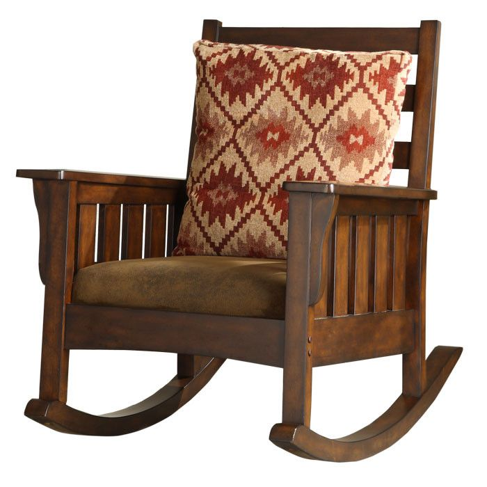 Antique Mission-style rocking chair with American Indian inspired cushion.  Nice, but not Quarter Sawn White Oak. | Craftsman style in 2018 | Pinterest  ... - Antique Mission-style Rocking Chair With American Indian Inspired
