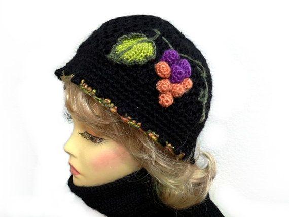 Hat and Scarf Set Black Hat  Crochet Grape  Beanie by Nikifashion