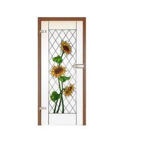 Drzwi szklane witrażowe GIPSY KINGS SŁONECZNIKI