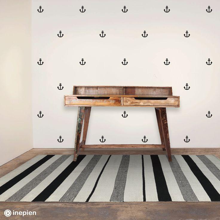Pimp je kamer met de muurstickers van Inepien! Bijvoorbeeld met deze stoere zwarte ankers. #muursticker #anker