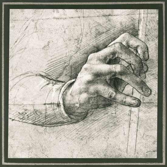 Image: Leonardo da Vinci - Study of a Hand (pen  ink on paper)