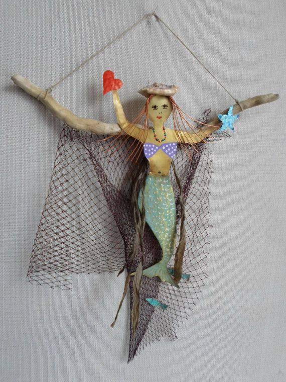 Mermaid on sea wood / Cloth net / Brass mermaid