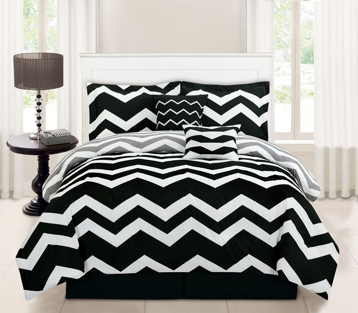 10 piece full chevron black bed in a bag set find out more about the great product at the image link find this pin and more on bedding sets