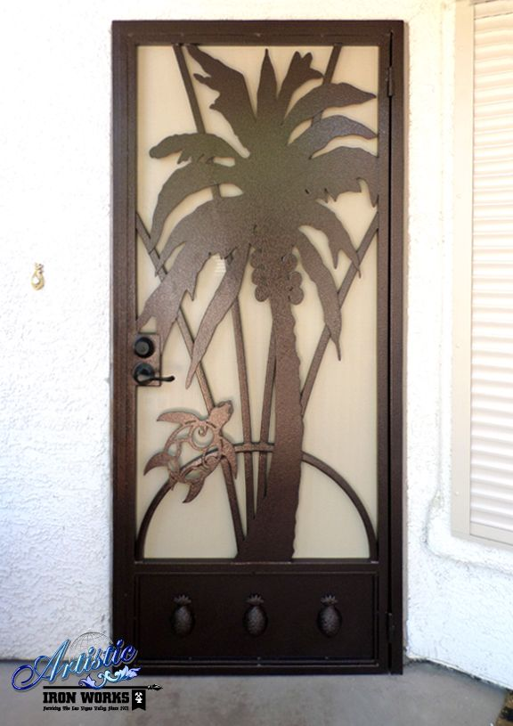 Palm Tree & Turtle Wrought Iron Security Screen Door with Pineapple Finials on the kickplate