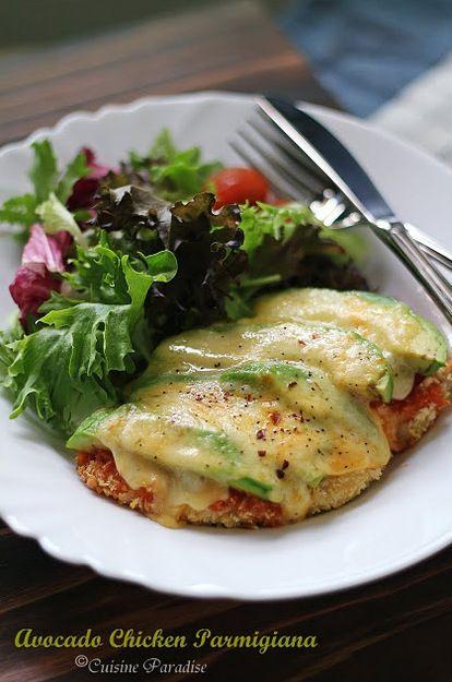 avocado chicken parmesan..: Foodies, Recipe, Maine Dishes, Chicken Parmesan, Chicken Parmigiana, Avocado Chicken, Yummy, Cooking, Food Drinks