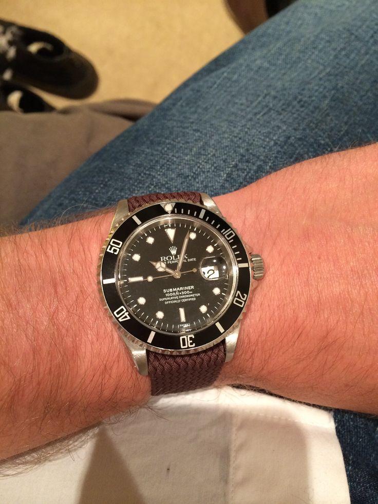 Rolex submariner 16610 on brown perlon strap | Watches ...