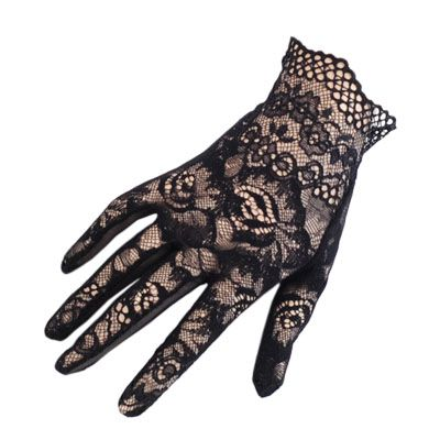 Short Black Lace Gloves - Black - Black.co.uk