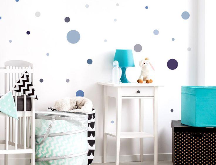 Simple WAS Kinder Wand XL Pastellkreise Blau Grau