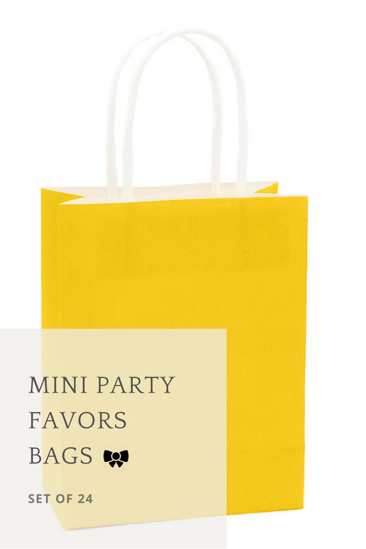 Paper bag yellow - Includes 24 Yellow Mini 5 Favor Gift Kraft Paper Bags With Handles That Are Perfect