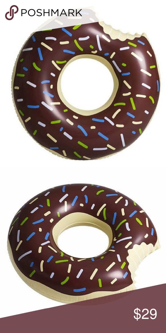 """Gigantic Chocolate Donut Floatie Chocolate Donut Pool Float Floatie Kings  Gigantic Donut Floatie comes with delicious chocolate frosting and colorful sprinkles, try not to take a bite out of this float!  Features:  High quality extra thick fabric  Tasty chocolate frosting with sprinkles  Giant size  Dimension L: 47"""" (120cm)    W: 47"""" (120cm)   D: 7"""" (18cm) NEW IN BOX Floatie King Other"""