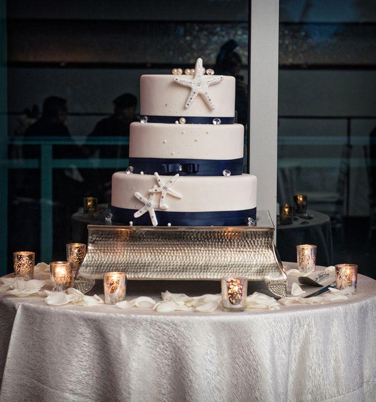 Gorgeous beach wedding cake! (Jeff Kolodny Photography, Inc)
