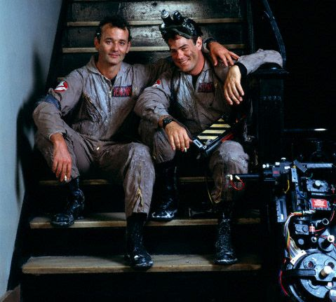 Bill Murray and Dan Aykroyd on the set of Ghostbusters.