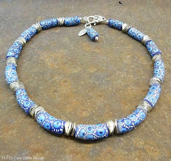 Blue dotted handmade Krobo Africa repurposed beads by CBlomsDesign
