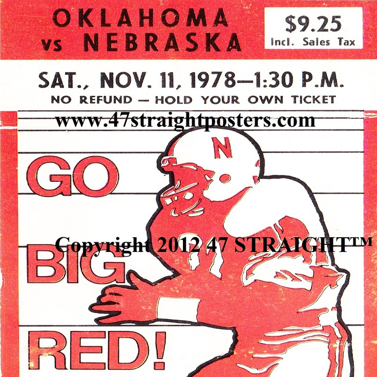 Coming soon! 1978 OU vs. Nebraska football ticket coasters. Tom Osborne's first win over Oklahoma. #47straight http://www.shop.47straightposters.com/