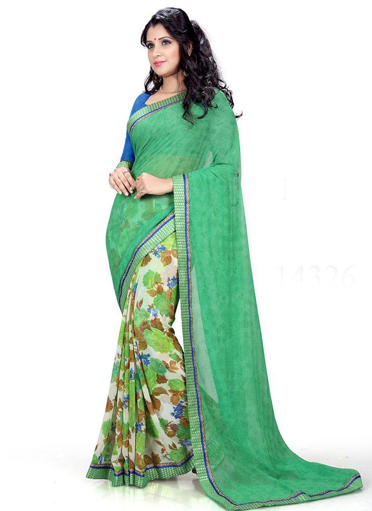#Green,Off White Marble #Georgette #Printed #Saree #nikvik  #usa #designer #australia #canada #freeshipping #dress #saris