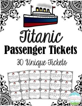 A reproduction of tickets aboard the Titanic!  There are thirty different tickets using real names of passengers. I hand these out to my students at the beginning of our Titanic unit and have them research their passenger, finding out what class they are in, their husband or wife (or parents!), why they were on the Titanic and whether they lived or died in the sinking.The first three pages correspond to their classPage 1: First ClassPage 2: Second ClassPage 3: Third ClassPage 4: Assorted…