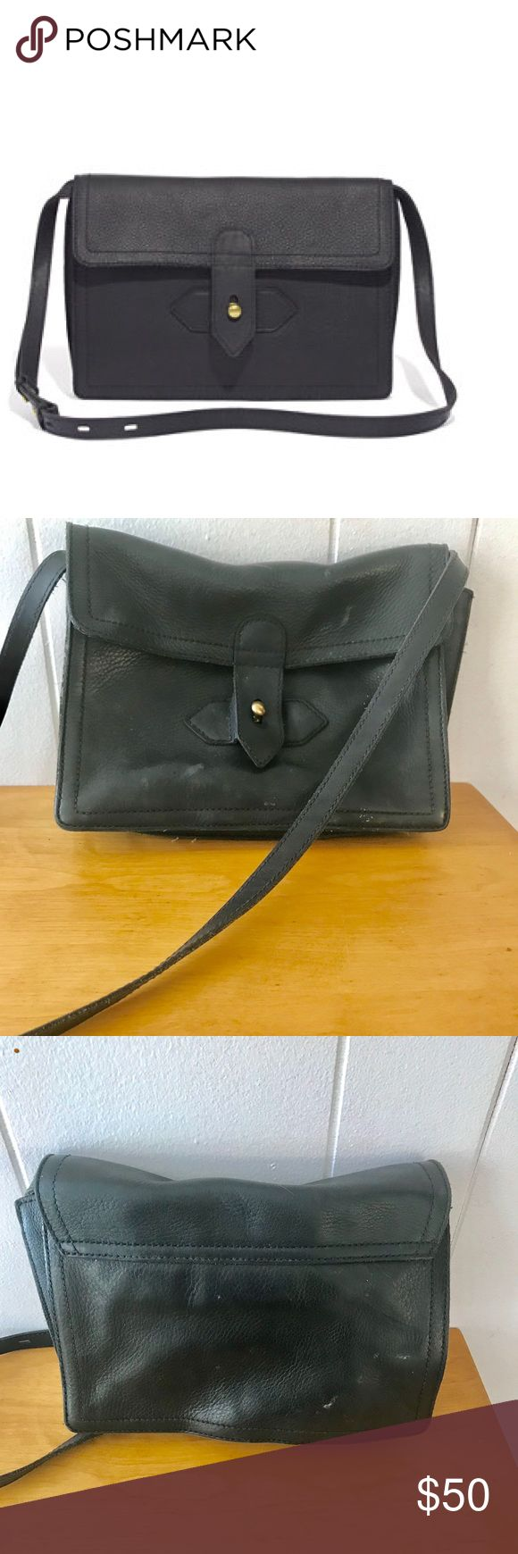 Madewell Sketchbook Bag- Black Leather Adorable crossbody from Madewell. Bag has some wear, but is still in good condition. Madewell Bags Crossbody Bags
