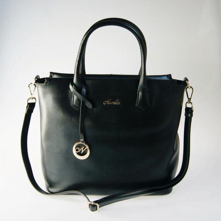 NUCELLE Top Torba GWIAZD skóra czarna shopper bag