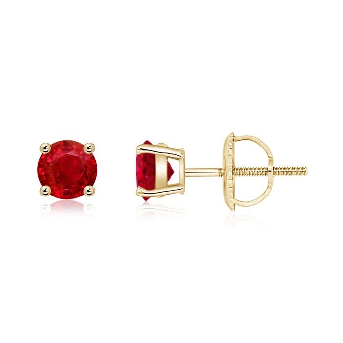 Angara Three Prong-Set Ruby Heart Stud Earrings in White Gold Yi6i58u