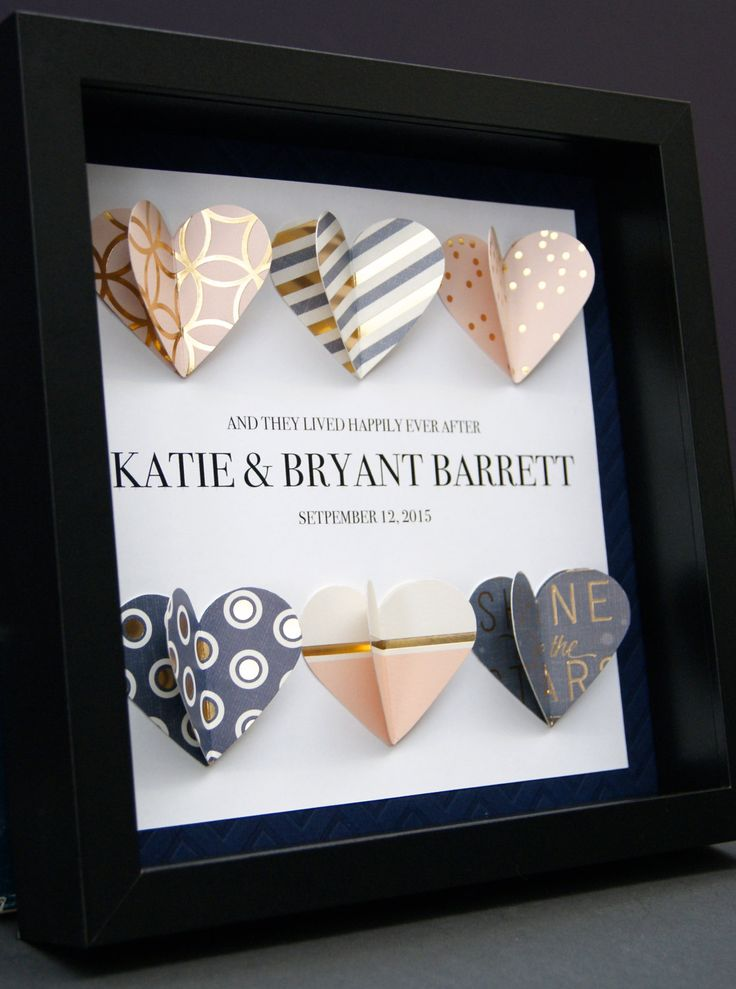 unique personalized wedding gift engagement first anniversary gift paper anniversary gift 3d origami hearts shadowbox frame wall art