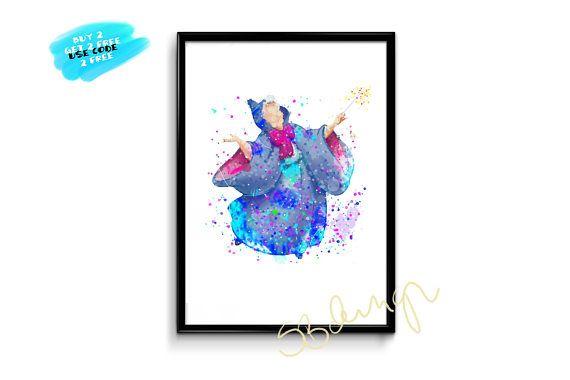 Disney Fairy Godmother Poster Watercolor Disney Poster Nursery