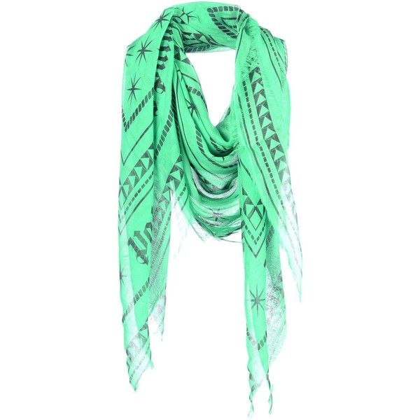 Palm Angels Square Scarf ($175) ❤ liked on Polyvore featuring accessories, scarves, green, green scarves, green shawl, fringe shawl, patterned scarves and logo scarves